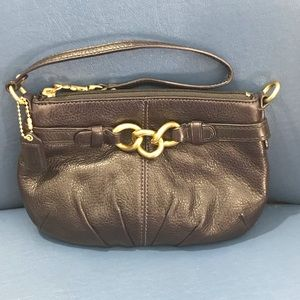 Coach purple leather large wristlet